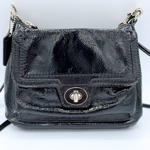 COACH Poppy Shiny Black Patent Leather Crossbody